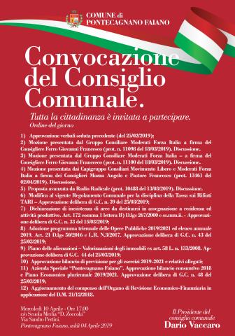 Pontecagnano Faiano - manifesto- consiglio comunale 10.04.2019