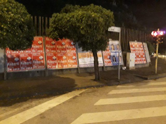 Europee affissioni abusive a Salerno