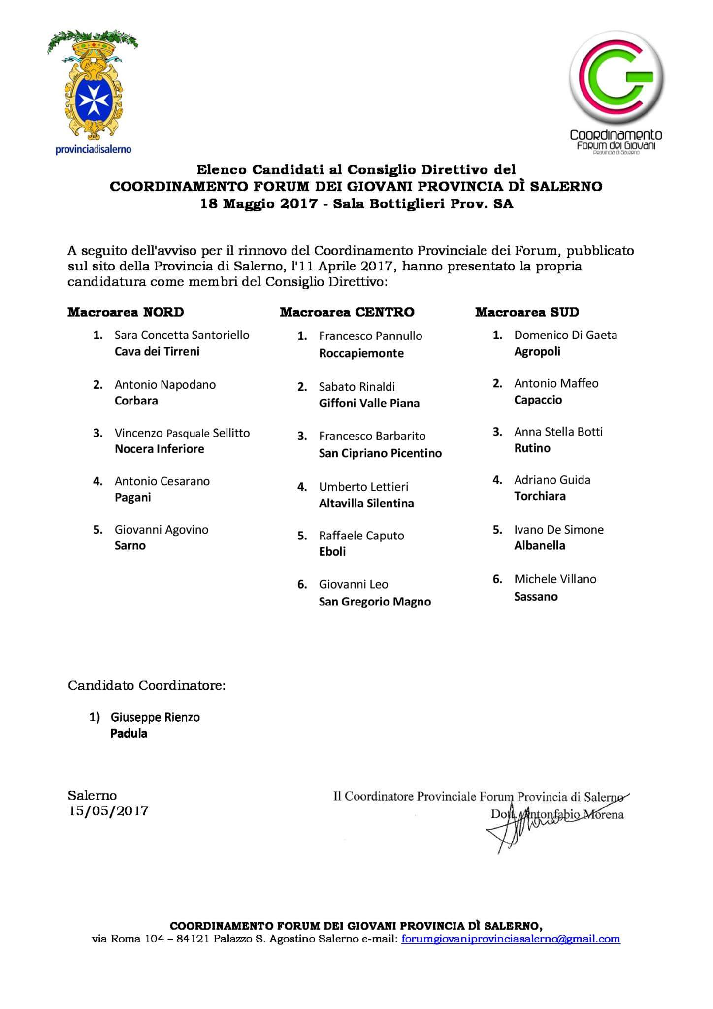 Forum provinciale Giovani Salerno-composizione per macroaree