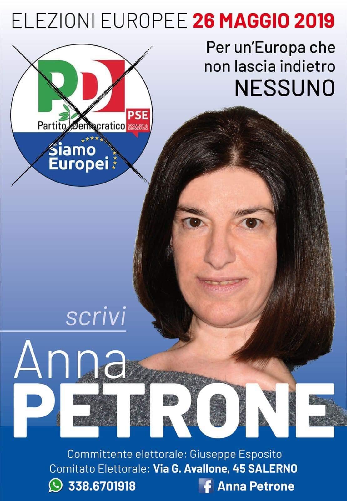 Manifesto elettorale Anna Petrone