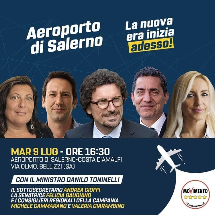 Aeroporto Salerno Costa d'Amalfi Conferenza stampa Toninelli