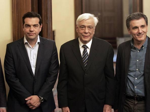 Alexis Tsipras- presidente Prolopis Pavlopoulos-neo ministro Economia Euclid Tsakalotos