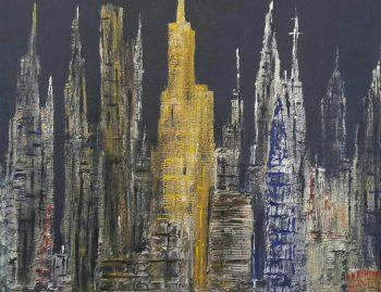 Autore Leonardo Pappone Leopapp titolo City 4.0 tecnica misto acrilico su juta formato 70x90 cm anno 2018