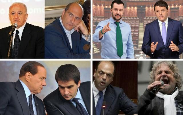 De Luca-Cozzolino-Salvini-Renzi-Berlusconi-Fitto-Alfano-Grillo