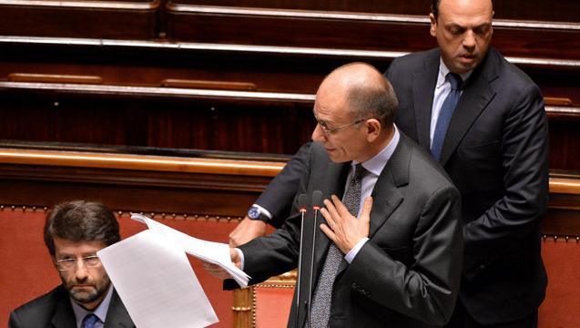 Enrico-Letta-al-Senato-con-Franceschini-e-Alfano.