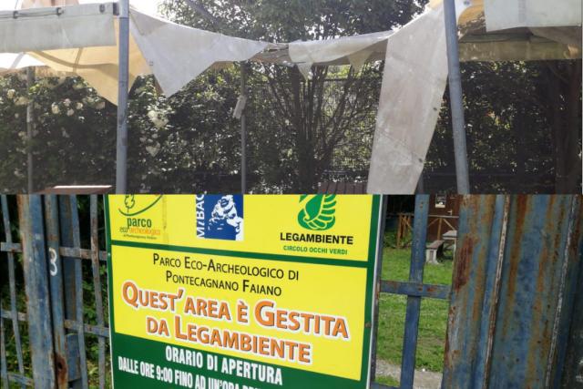 Parco eco archeologico di Pontecagnano vandalizzato