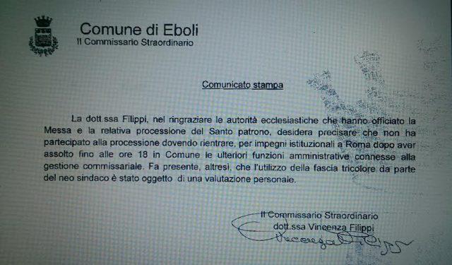 Fascia tricolore - Comunicato Filippi