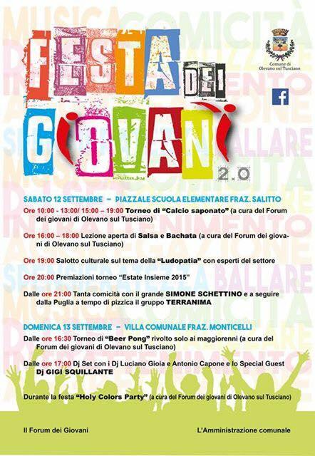 Festa dei giovani-Olevano sul tusciano-programma