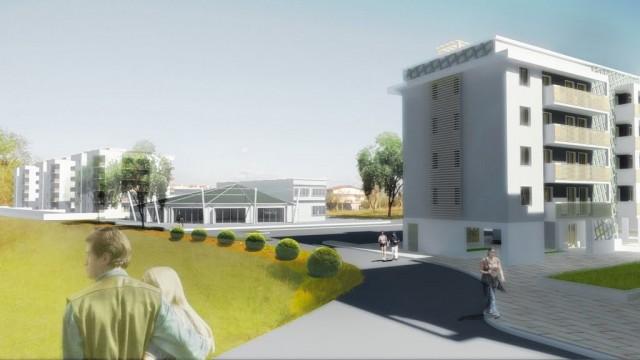 Housing Sociale loc Fontanelle render Fotoinserimento del centro civico polivalente e gli edifici di Housing Sociale