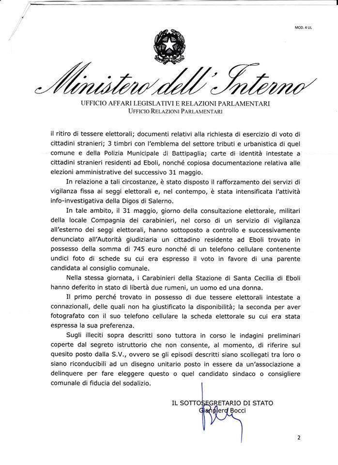 Interrogazione Cardiello-risposta Ministro interno