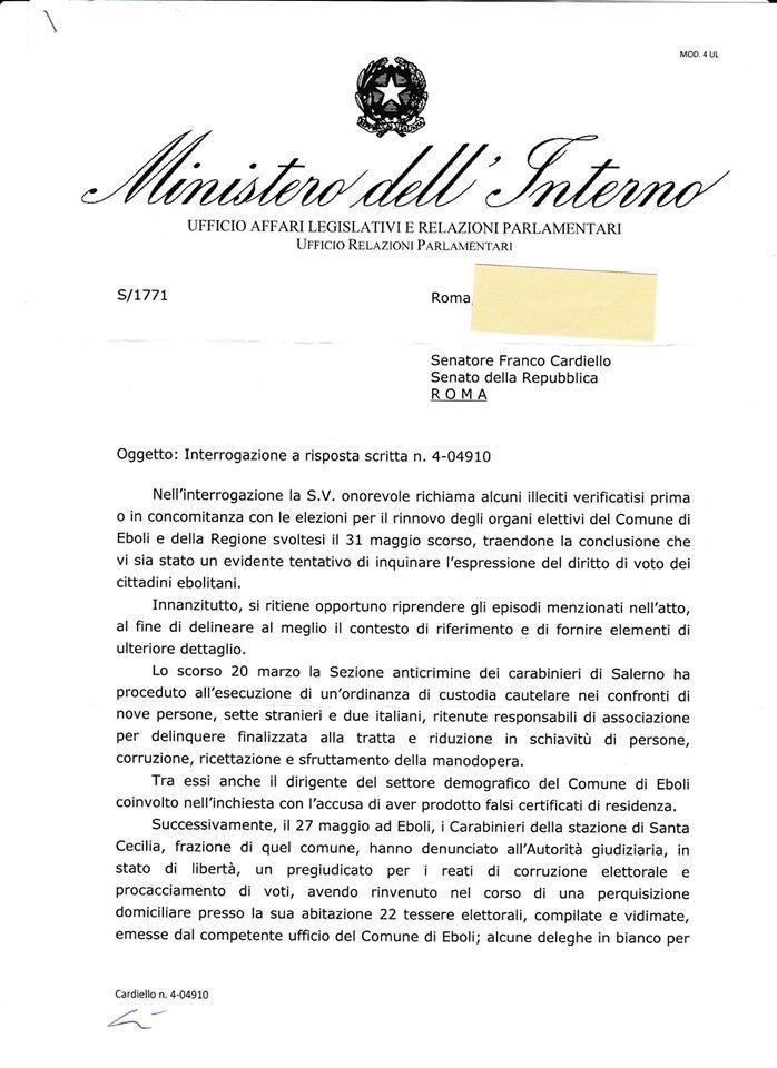 Interrogazione Cardiello-risposta Ministro interno 1