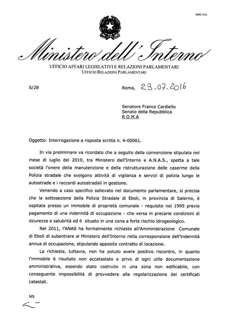 Polstrada Eboli-risposta Ministro Alfano-0