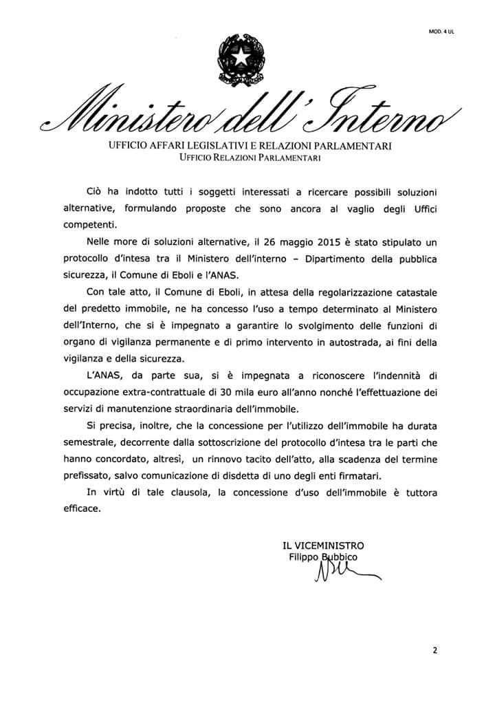 Polstrada Eboli-risposta Ministro Alfano-1