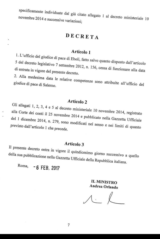 Decreto Ministro giustizia eboli1