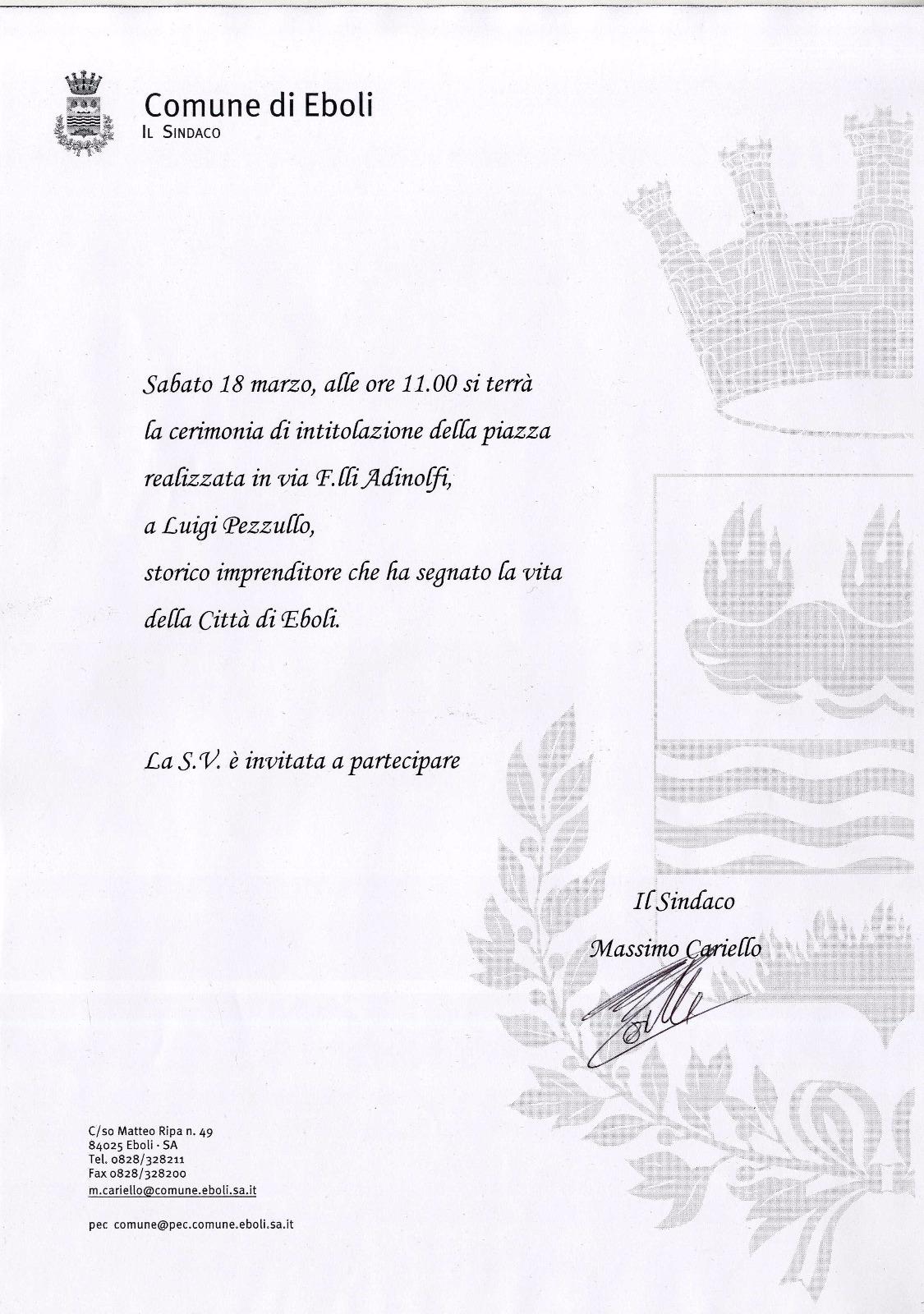intitolazione Piazza Luigi Pezzullo-invito