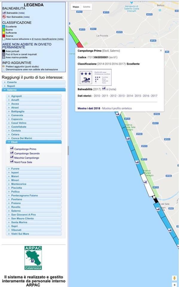 tabella Arpac classificazione acque marine fascia costiera