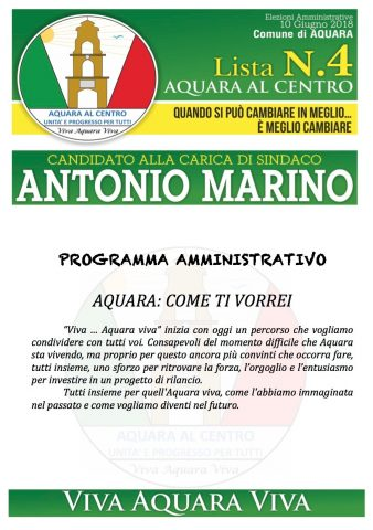 programma politico di Antonio Marino Candidato Sindaco Aquara