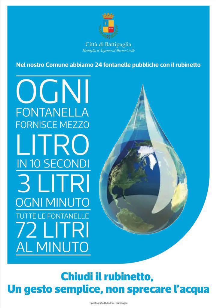Battipaglia-campagna contro sprechi di acqua
