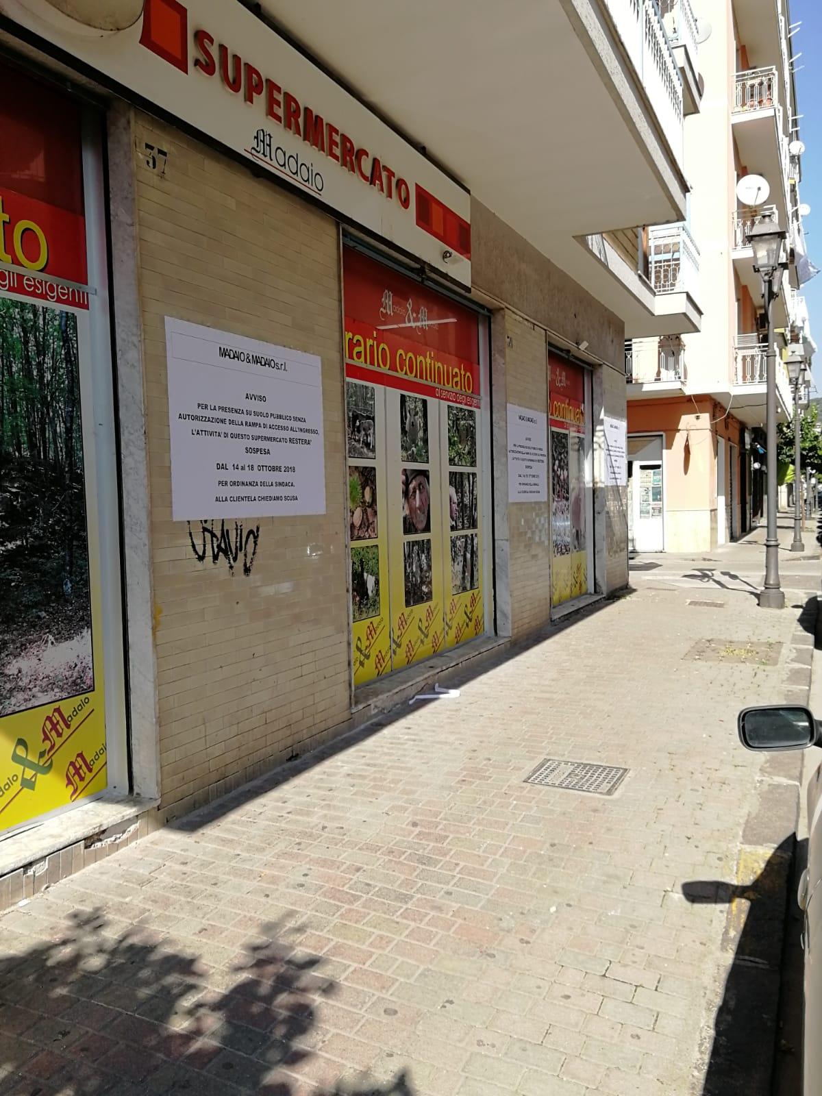 Supermarket chiuso a Battipaglia