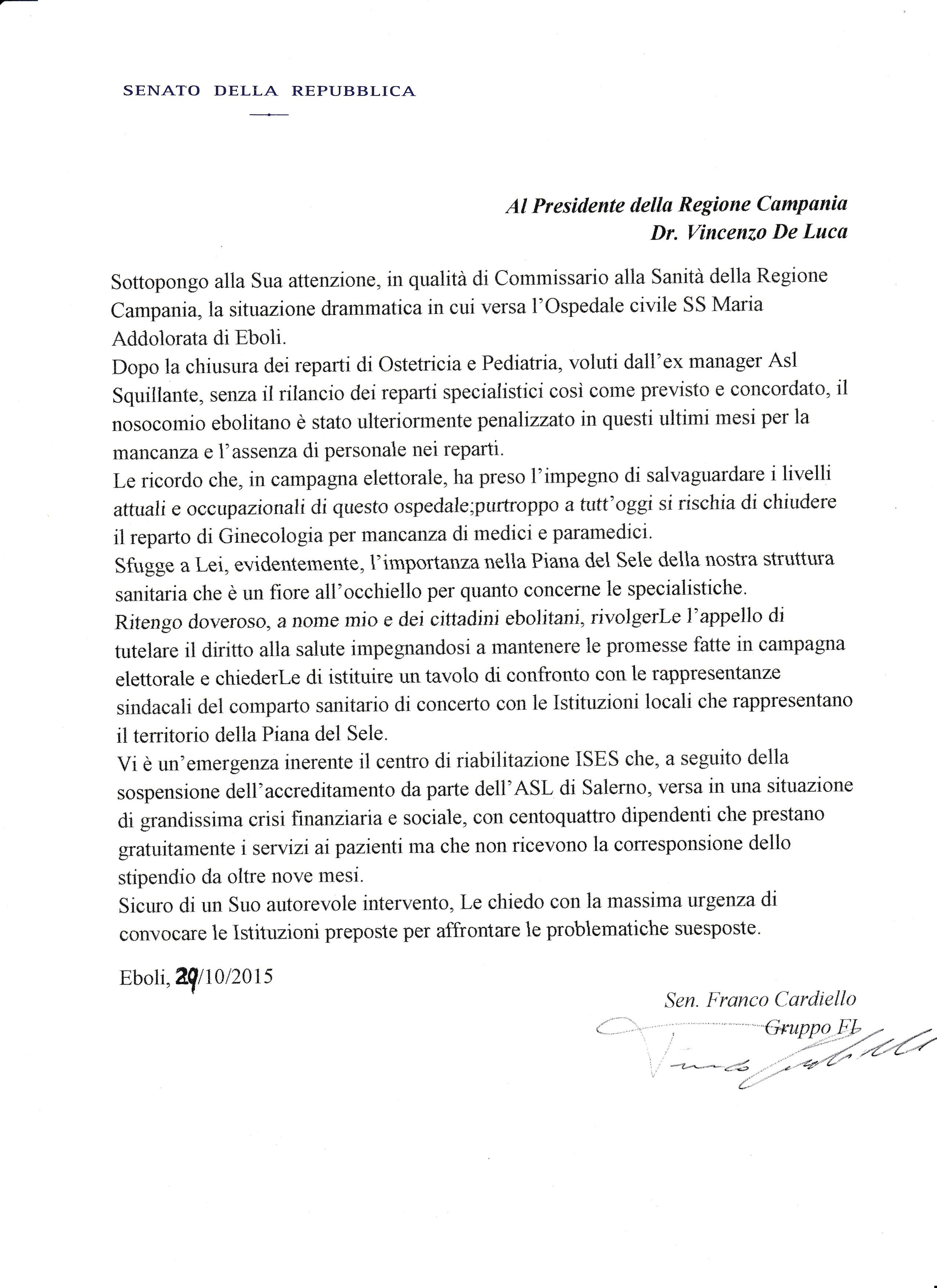 lettera incontro con De Luca di Cardiello
