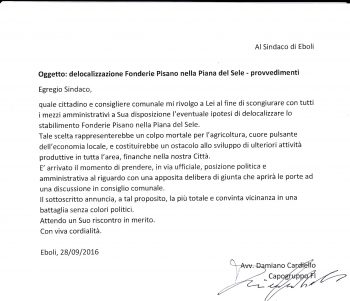 Lettera di Damiano Cardiello a Massimo Cariello