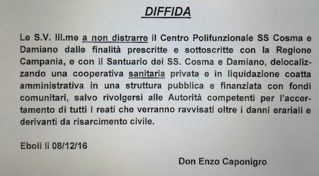 Diffida Don Enzo Caponigro