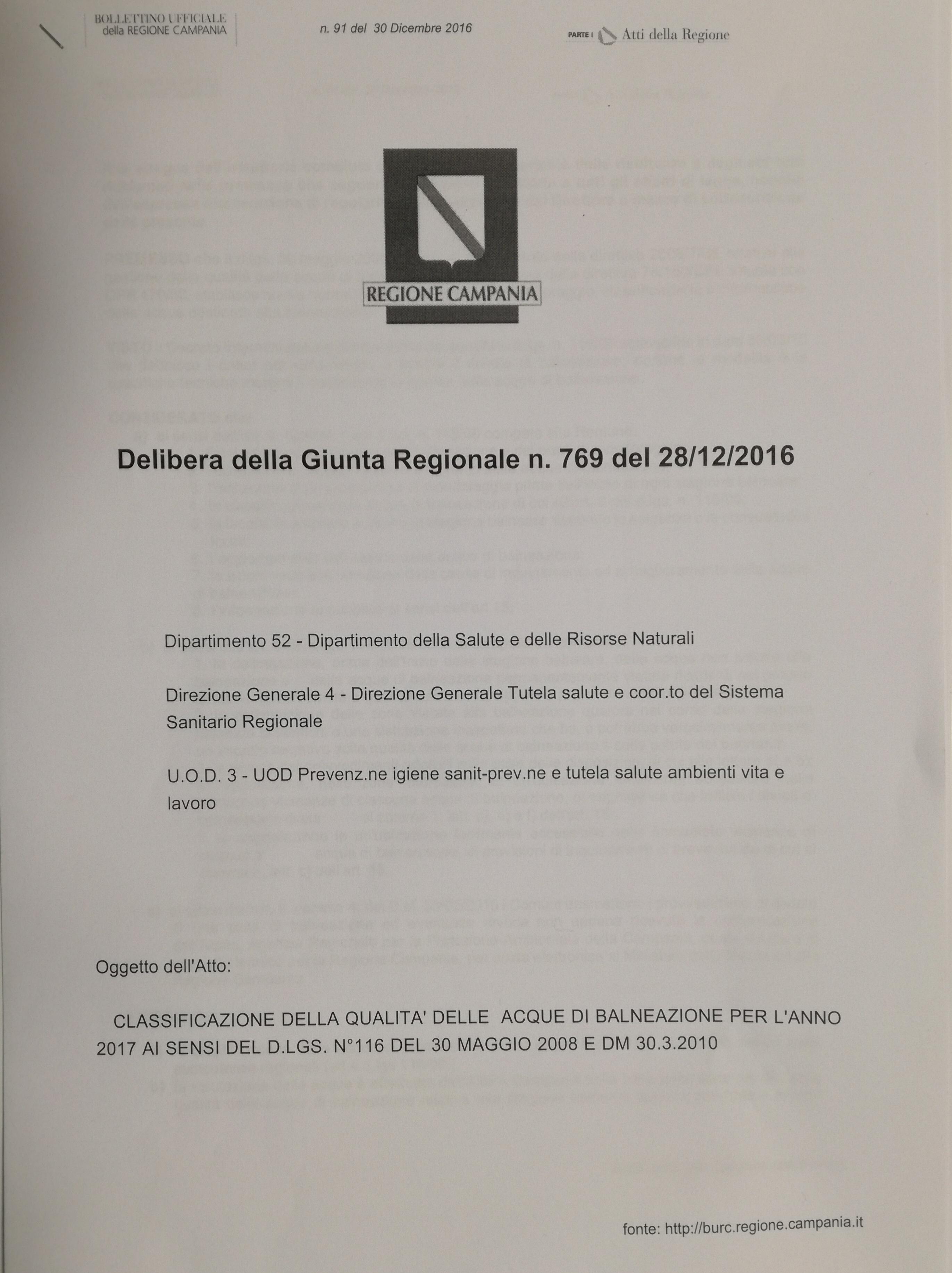 Balneabilitá-Delibera-Giunta Regionale-Campania-769-del-28-12-2016-