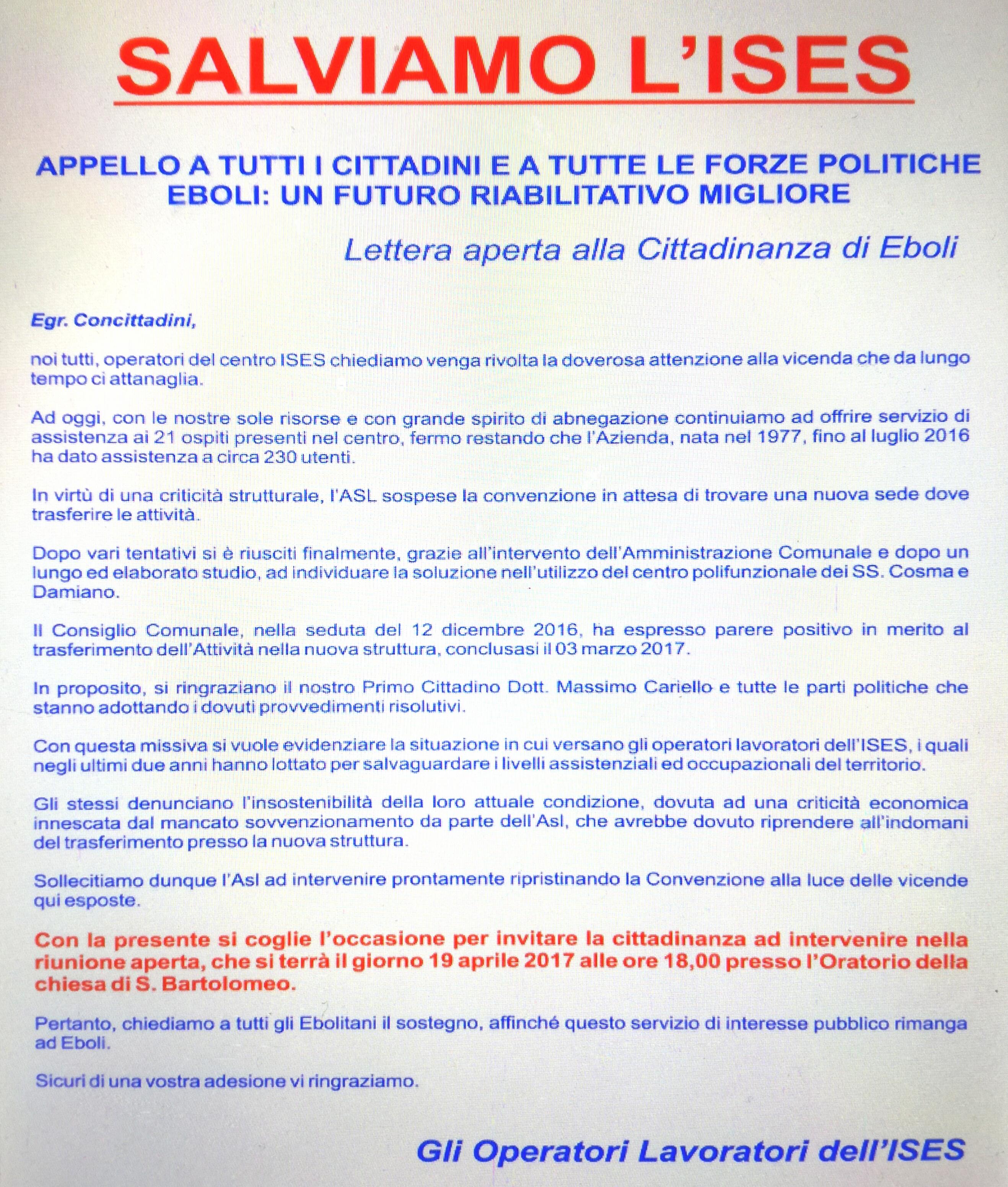 Lettera aperta dell'ISES agli ebolitani