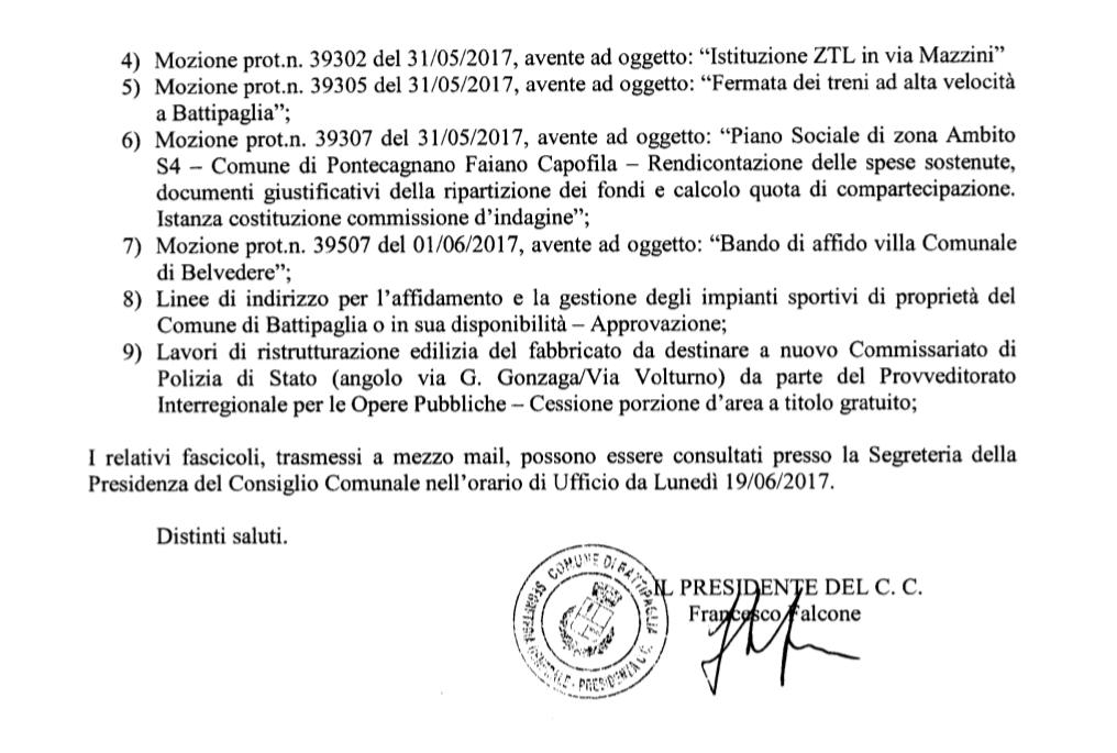 Convocazione consiglio comunale Battipaglia 22/06/2017