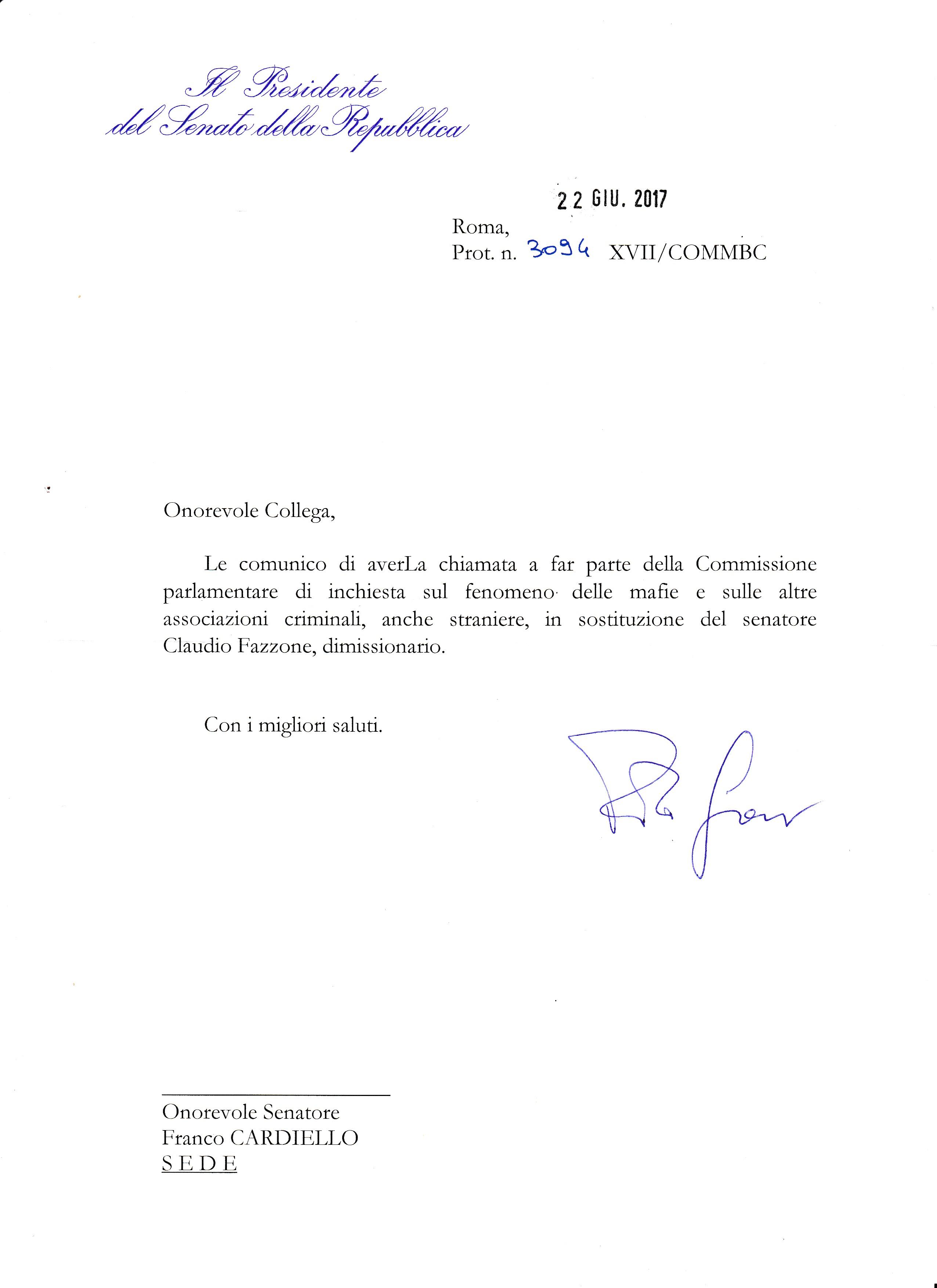 Nomina-Franco Cardiello-Comissione Antimafia
