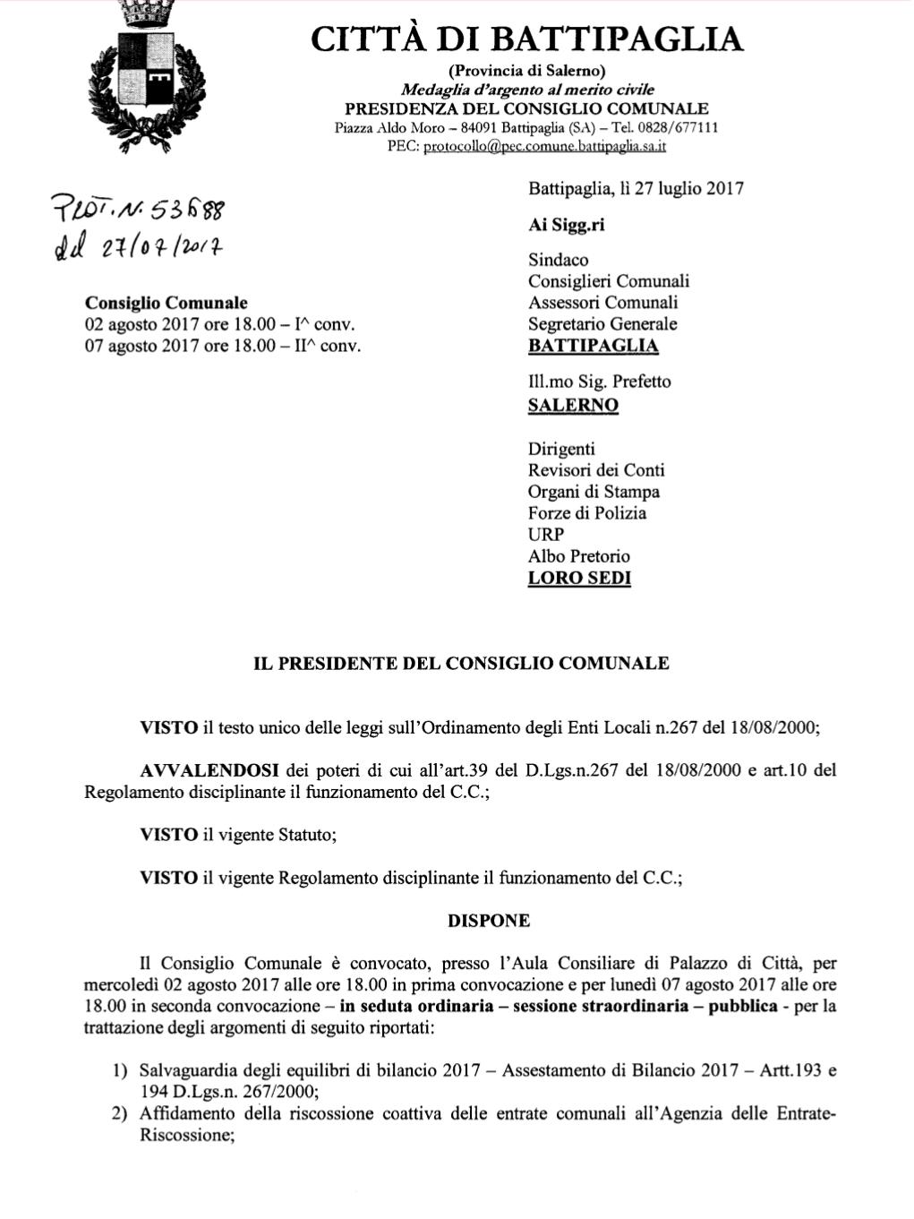 Convocazione Consiglio comunale Battipaglia