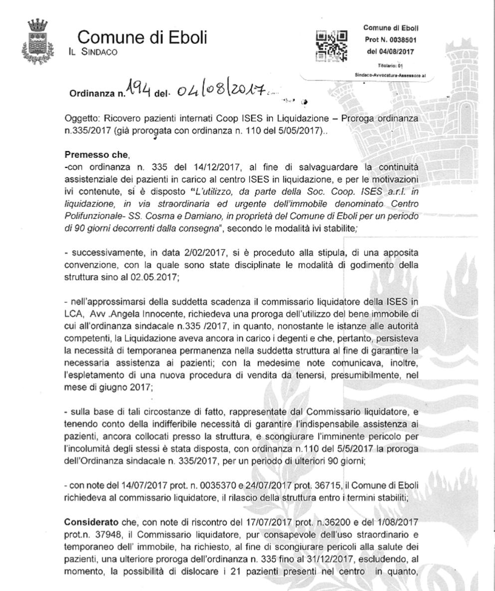 Terza Ordinanza ISES