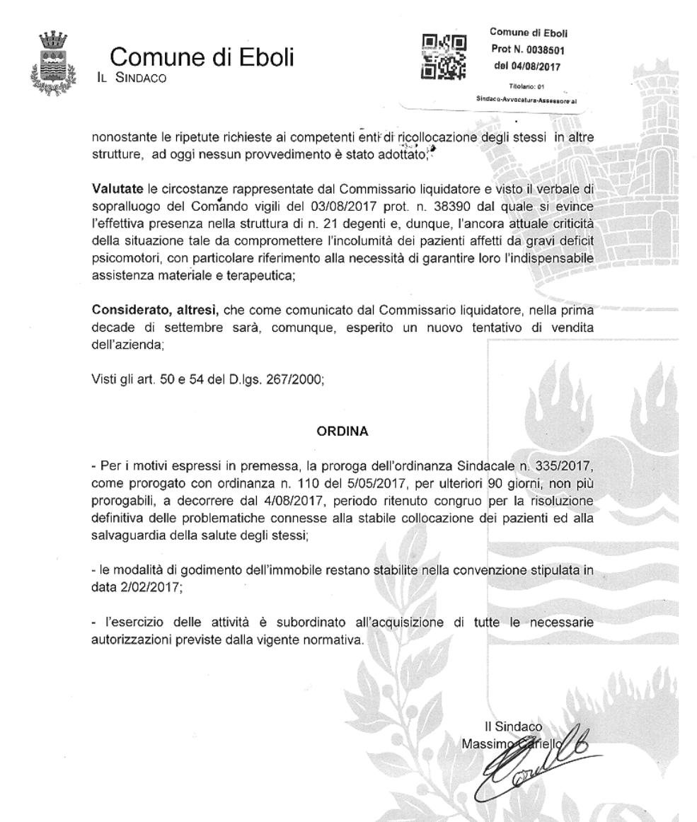 Terza Ordinanza ISES 1