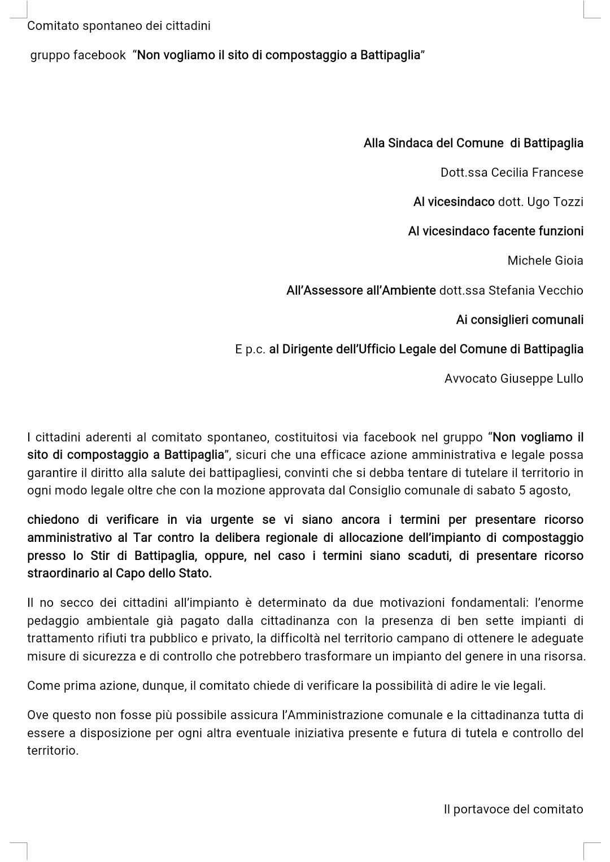 Lettera comitato spontaneo no compostaggio