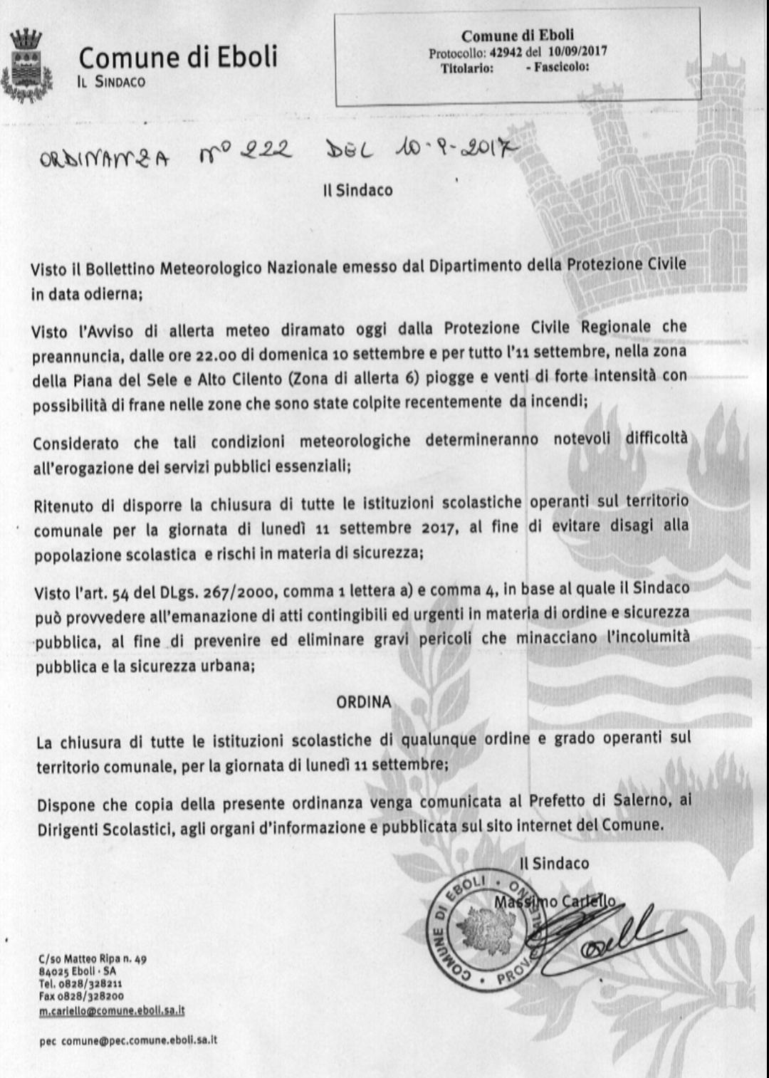 Allarme meteo eboli
