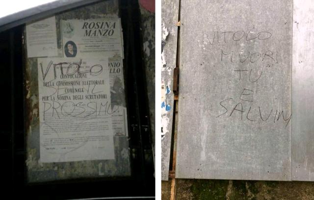 Scritte minacciose contro il leghista Vitolo