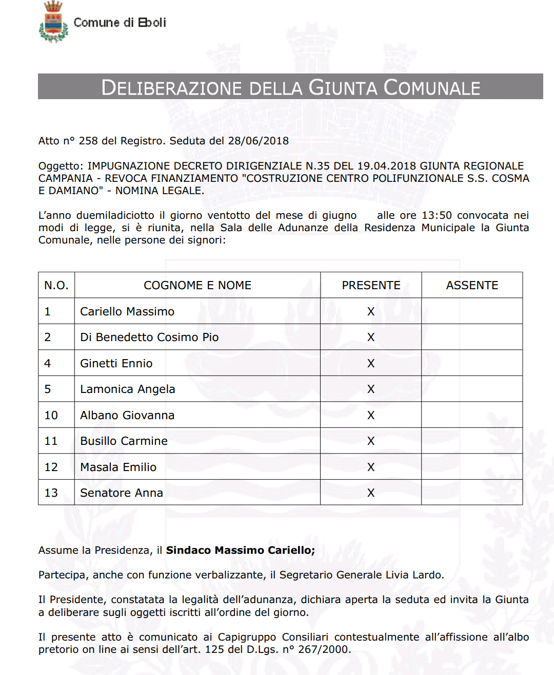 Delibera costituzione in giudizio revoca finanziamento centro polifunzionale 1