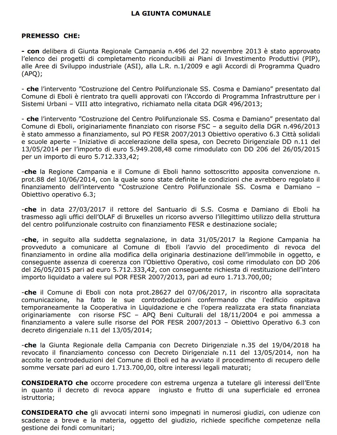 Delibera costituzione in giudizio revoca finanziamento centro polifunzionale 2