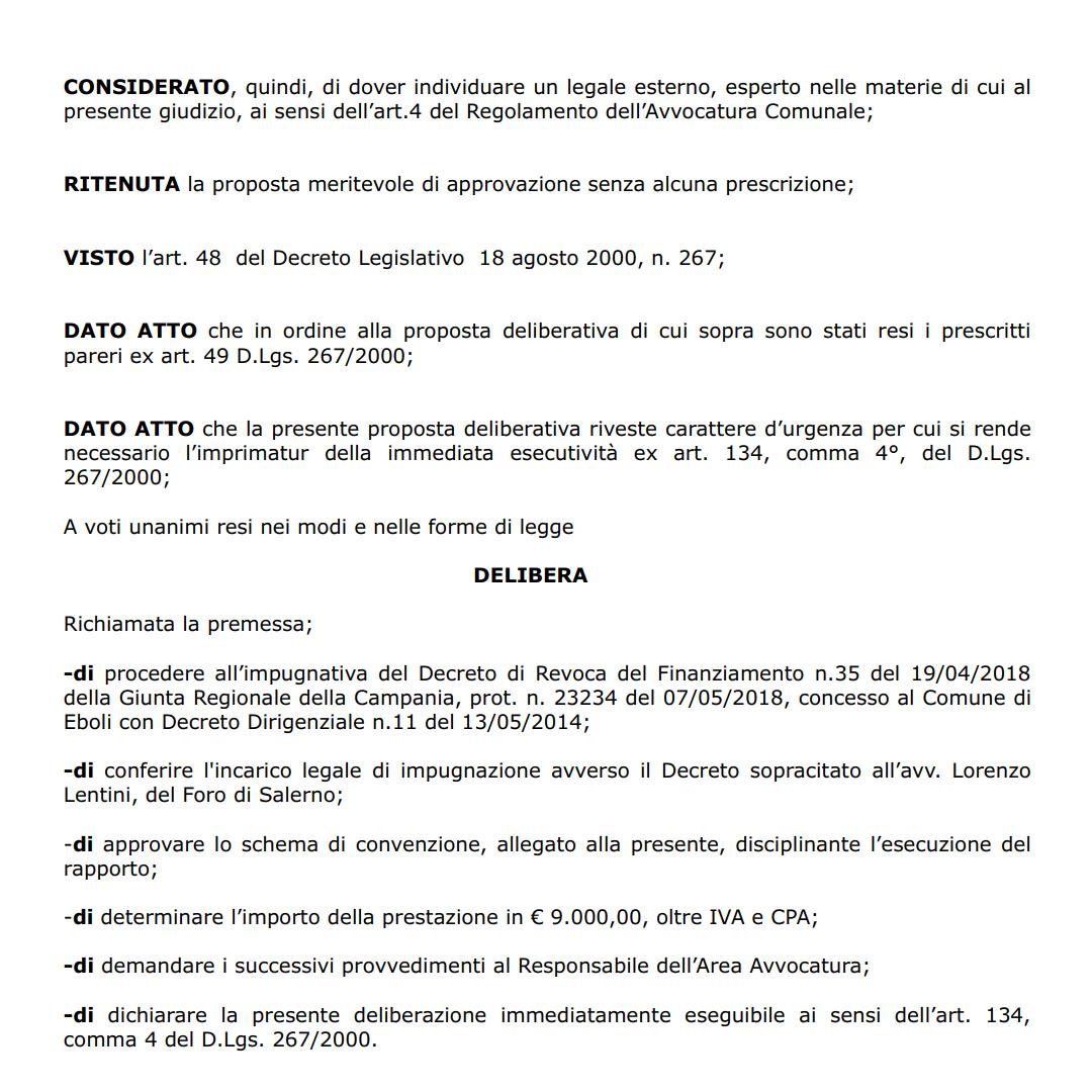 Delibera costituzione in giudizio revoca finanziamento centro polifunzionale 3