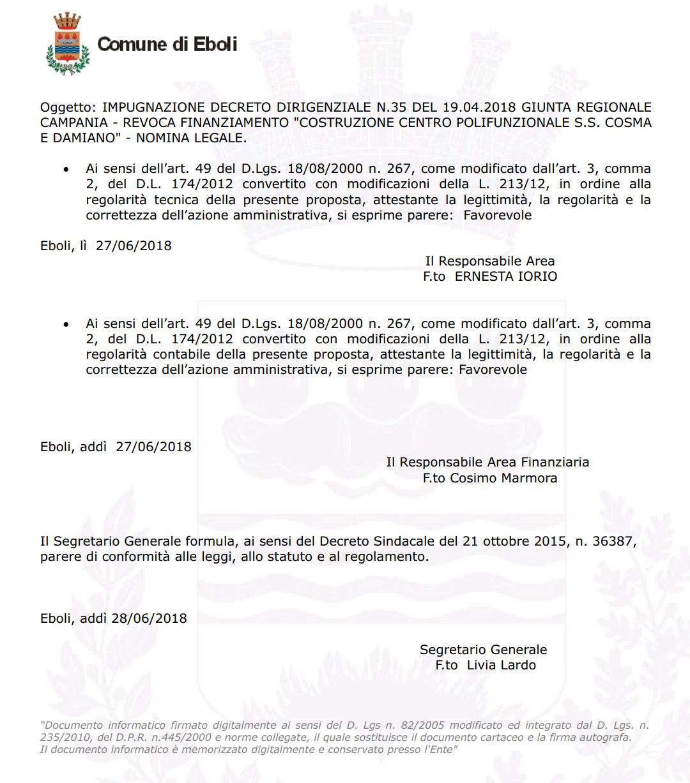 Delibera costituzione in giudizio revoca finanziamento centro polifunzionale 4