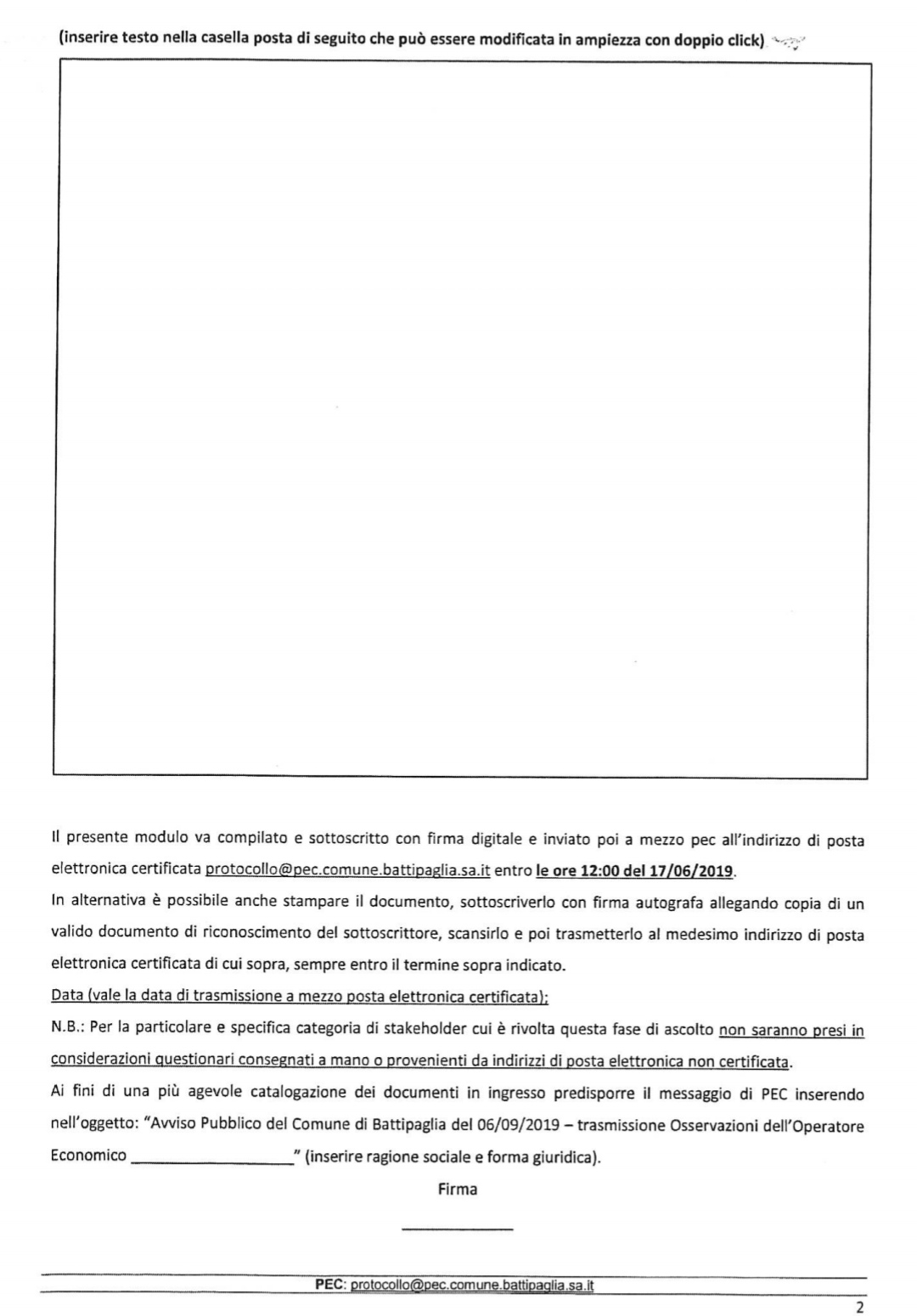 Modulo manifestazione osservazioni Variante ASI-3