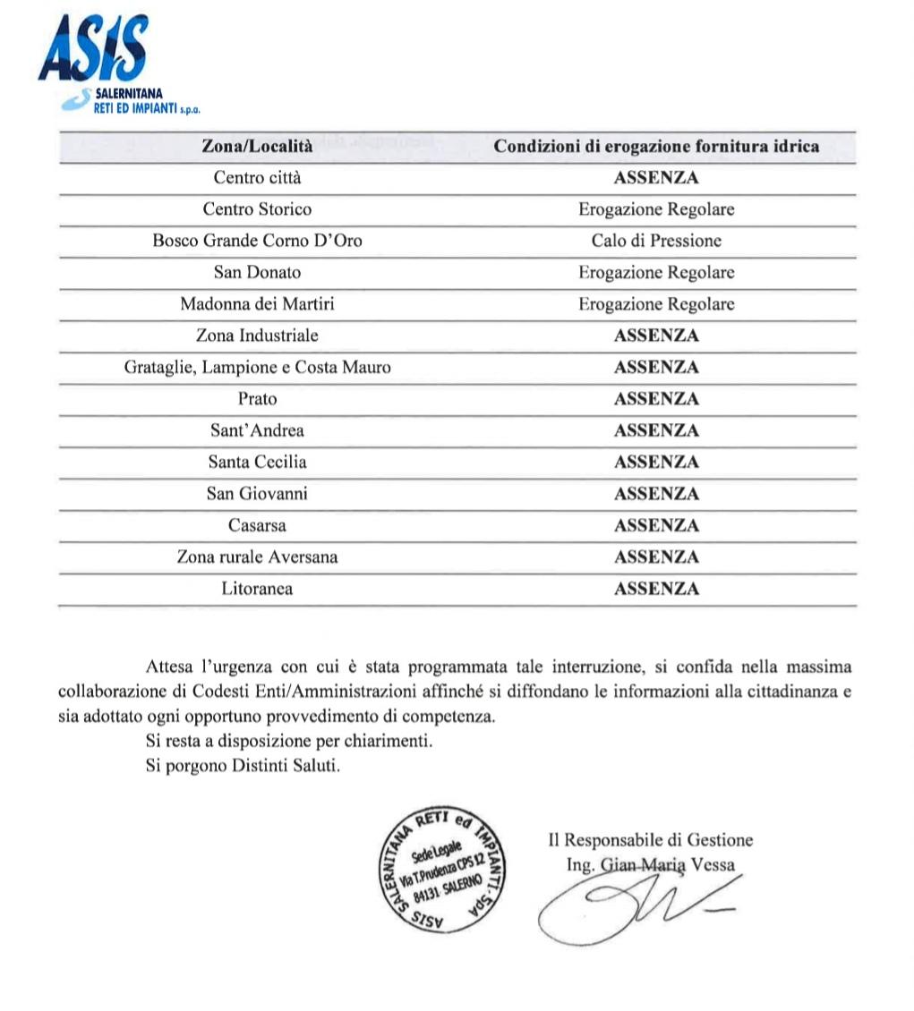 Ordinanza sospensione idrica ASIS