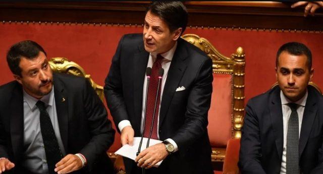 Salvini-Conte-Di Maio-Senato-Sfiducia
