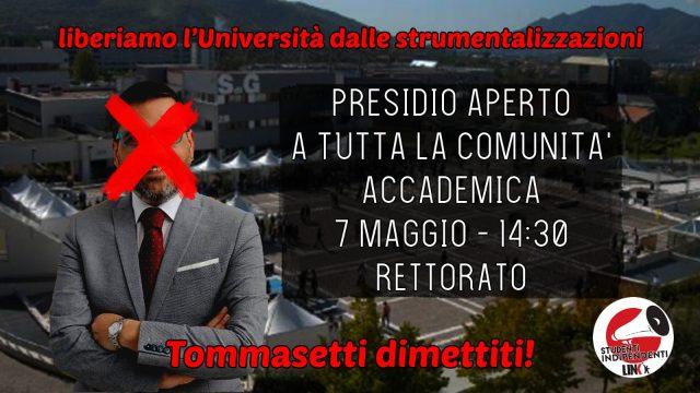 Locandina presidio dimissioni Tommasetti