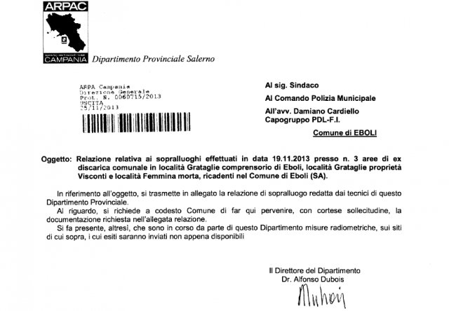 Lettera Arpac Salerno