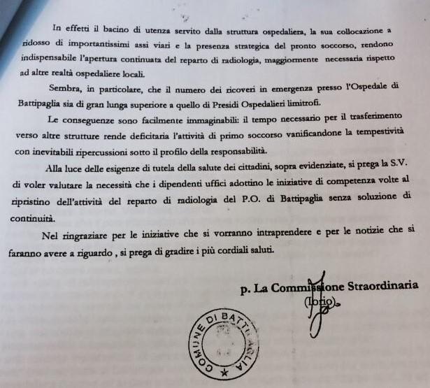 Lettera commissario Iorio 2