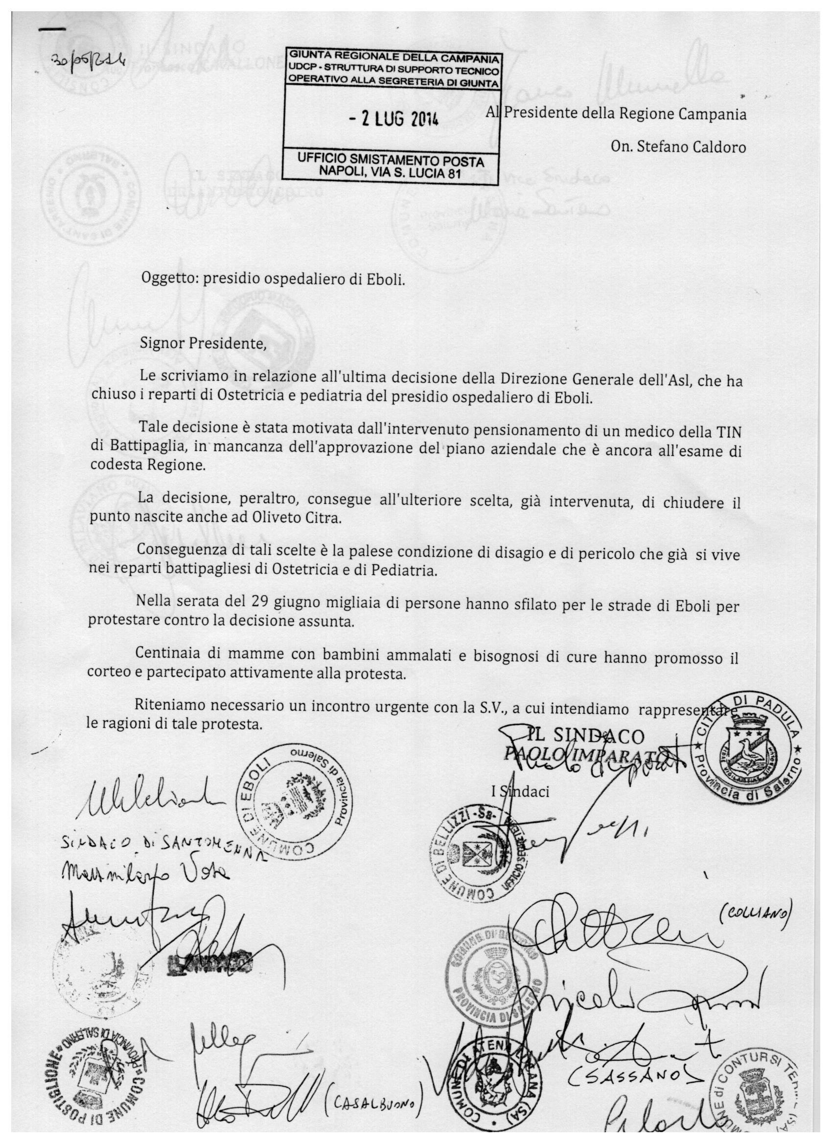 Lettera sindaci 1