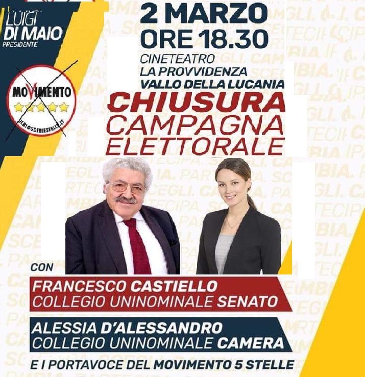 M5S-Chiusura campagna elettorale Vallo della Lucania