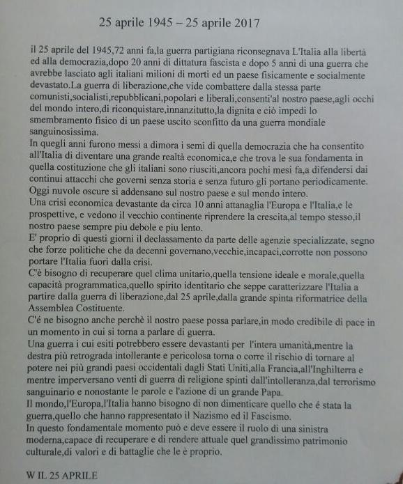 Messaggio Rifondazione comunista 25 aprile