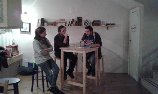 Paolo De Paolo-con-Matilde Saja e Giuseppe Avigliano-presentazione libro-Bistrò-Buatt-